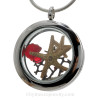 REAL Ruby Red  sea glass are combined with a small and larger starfish in this stainless steel locket necklace. A vivid ruby crystal gem makes t his a great gift idea for anyone with a July Birthday!