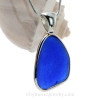 Beautiful Organic Cobalt Blue Sea Glass In a Solid Sterling Silver Wire Bezel© Necklace Pendant
