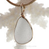Pure White - A love pure white sea glass set in our Original Wire Bezel© pendant setting with 14K rolled gold.