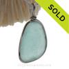 Lovely Aquamarine Genuine Sea Glass Bottle Bottom Original Wire Bezel© Pendant in Sterling Silver