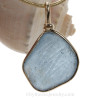 Embossed Soft Carolina Blue Sea Glass Pendant In our Original Goldfilled Wire Bezel©