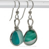 Cross Sectioned Mixed Teal or Turquoise English Sea Glass Earrings Sterling Wire Bezel©
