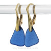 Larger Triangles of Cobalt Blue Sea Glass on 24K Gold Vermeil Leverback Earrings