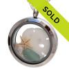 Summer - Aqua Sea Glass Locket With Sandollar and Pearl