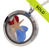 Fireworks at the Beach - Genuine Red White & Blue Sea Glass Locket With Starfish