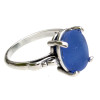 Beautiful blue sea glass ring in sterling. We sort through hundreds of pieces to find the right fit for our rings. Sea glass is never altered to fit a setting. This is the EXACT ring you will receive!