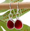 Perfect Cherry Red English sea glass pieces set in a sterling bezel earring. This is the EXACT pair you will receive!