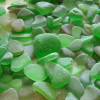 Green sea glass comes in a variety of hues and shades. From the deepest olive green the a bright lime.