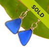 Sorry these blue sea glass earrings in gold have been sold!