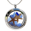 Blue sea glass pieces combined with 2 real starfish hand in hand on their own tiny beach. This is the EXACT locket you will receive!