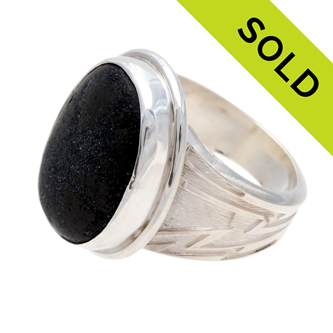 Black Spanish  Pirate/'s Sea Glass Sterling Ring