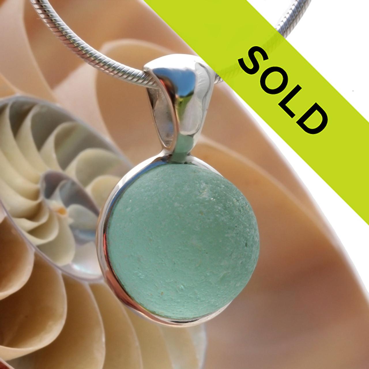 Aqua Green Genuine Sea Glass Codd Marble In Deluxe Sterling Wire Bezel C Ultra1608