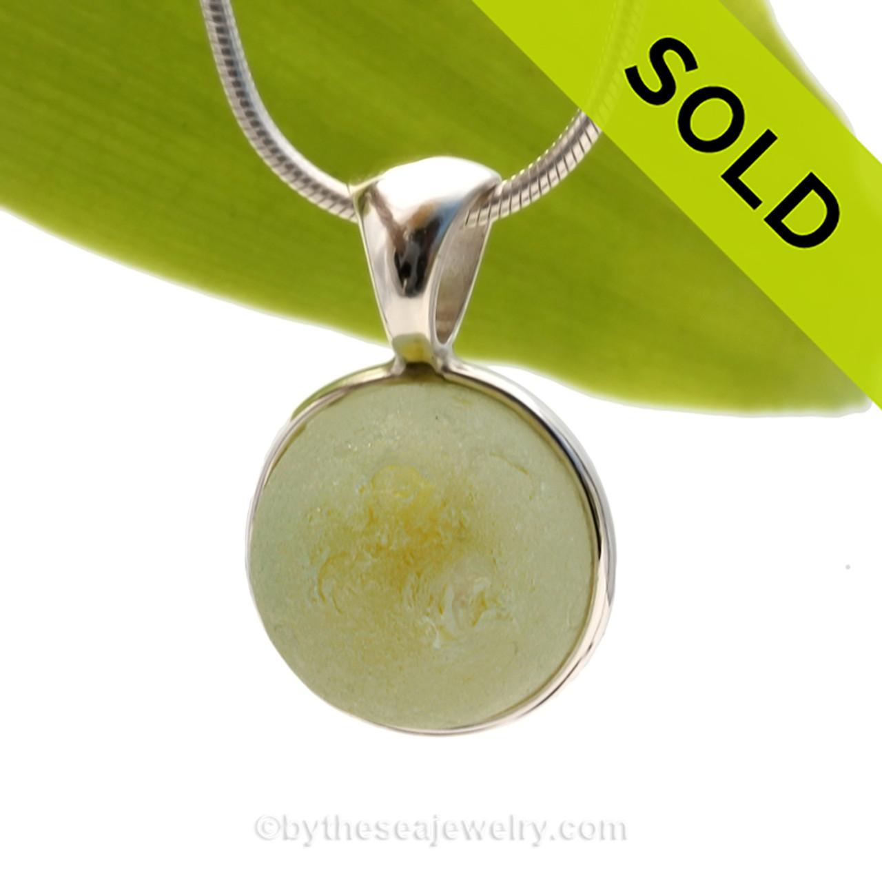Lemonade Genuine Yellow Seaglass Marble In Deluxe Wire Bezel C Necklace Pendant Deluxe1560