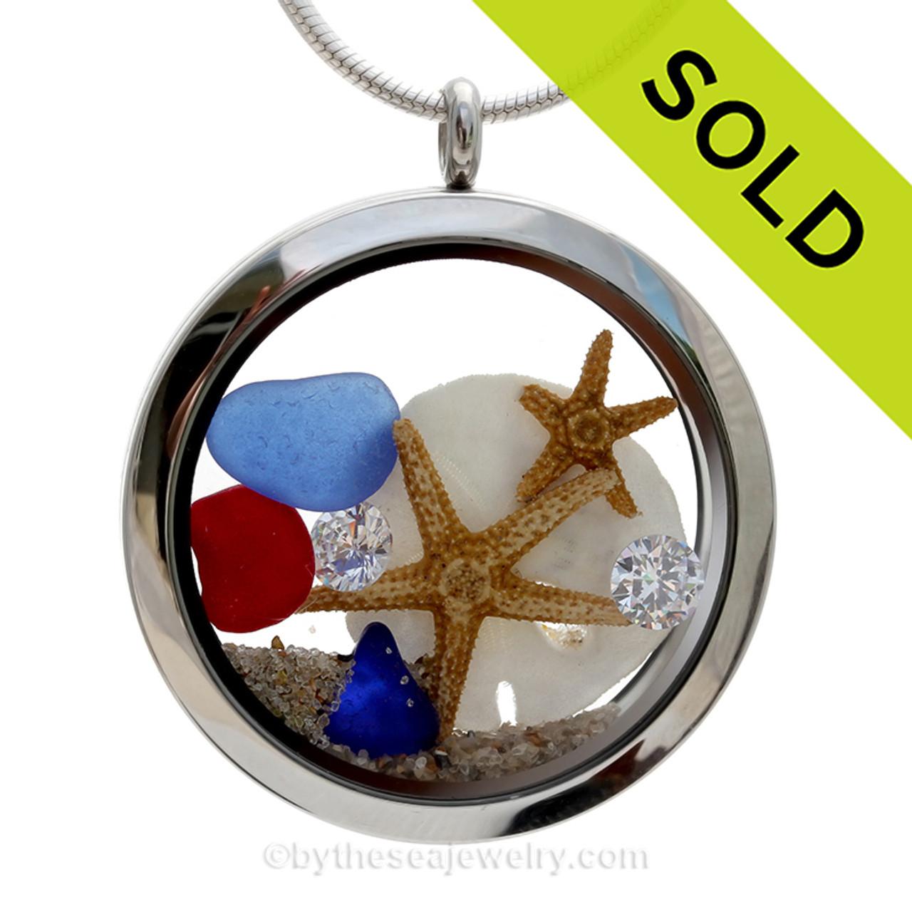 Rare red beach sea glass necklace Sterling silver. Sea glass locket