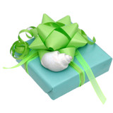 Our Regular gift wrapping comes in a Tiffany blue with green ribbons and bows.