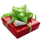 Our Premium Holiday Gift wrapping comes in a Festive Red with a red Green bows and ribbon