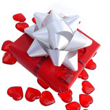 Our Premium Valentines Gift wrapping comes in a Festive Red with a red heart and burgundy bows.