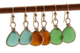 Bezel Set Sea Glass Earrings