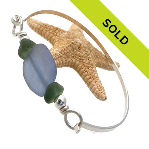 Green Sea Glass & Lt Blue Lampwork Bead On Sterling Bangle