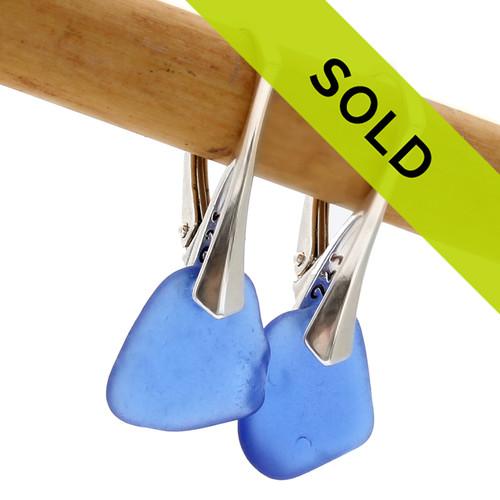 Blue sea glass earrings. SOLD