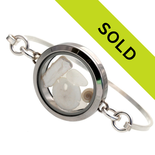 Sorry this sea glass bangle locket bracelet has been sold!