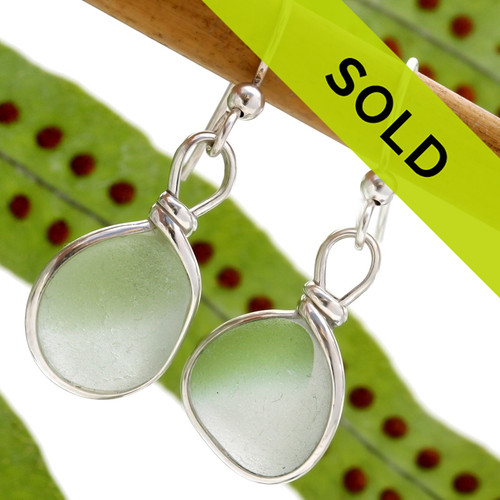 Beautiful mixed green Seaham Sea Glass Earrings in our Original Wire Bezel.