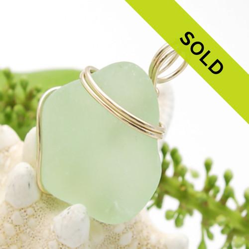 Triangle Seafoam Sea Glass In Simple Gold