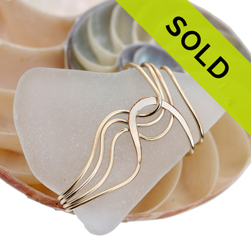 Sorry this white sea glass necklace pendant in gold has been sold!