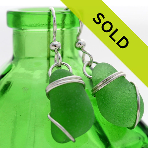 These genuine green sea glass earrings have been sold!