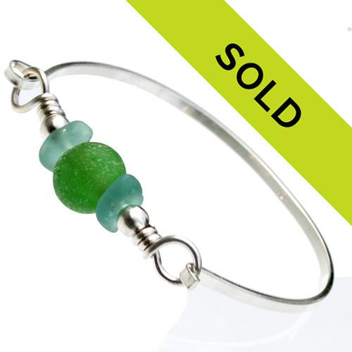 Aqua Sea Glass Bangle Bracelet W/ Green Recycled Glass Bead