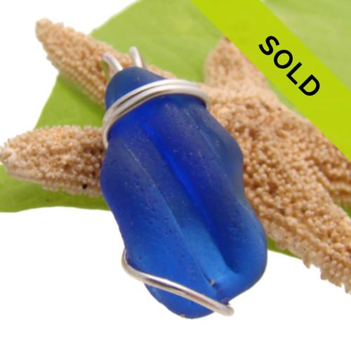 Cobalt Blue Ridged Sea Glass In Sterling