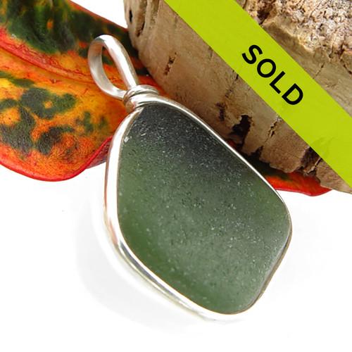 Jungle Green Sea Glass On Sterling Wire Bezel©