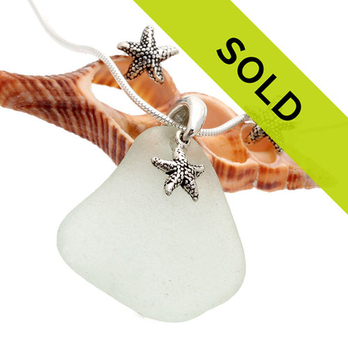 Seafoam Green Sea Glass Necklace With and Post Earrings & Starfish Charms