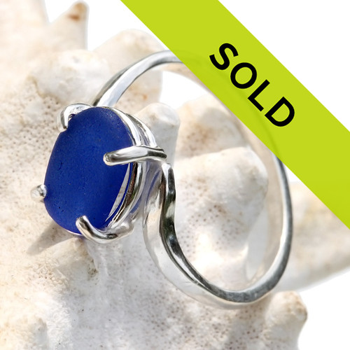 This blue sea glass ring has SOLD!