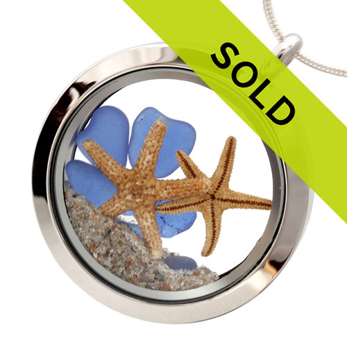 You & Me By The Sea #6 -  Real Blue Sea Glass Locket With Two Starfish