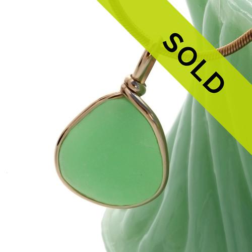 Ultra Rare UV Jadeite Green Sea Glass In 14K G/F Original Wire Bezel© Pendant