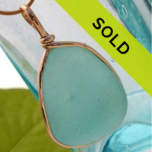 This is a HUGE piece of TOP QUALITY aqua sea glass set in our Original Wire Bezel© pendant setting for a necklace. A very very large piece, not for the timid!