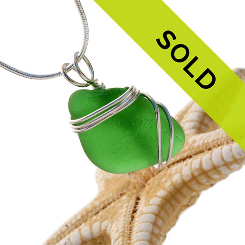 Vivid green sea glass is set in our secure triple sterling setting. A great pendant for any necklace. Sorry this pendant has sold!
