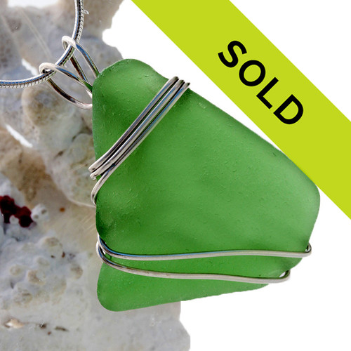 A LARGE  green sea glass is set in our secure triple sterling setting. A great pendant for any necklace.