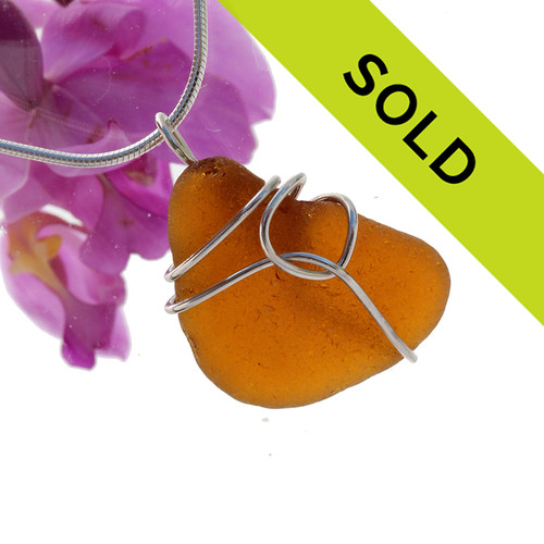 Sorry this amber sea glass pendant has been SOLD!