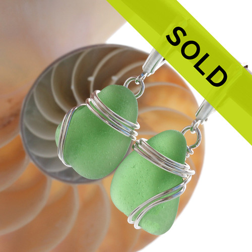 Sorry these green sea glass earrings have sold!
