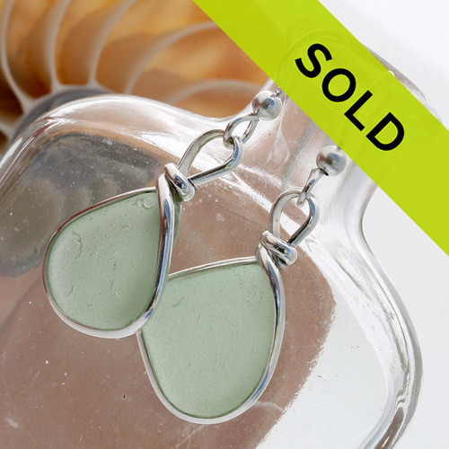 Seafoam green sea glass pieces set in our Original Wire Bezel© earring setting. SORRY THIS PAIR HAS SOLD!