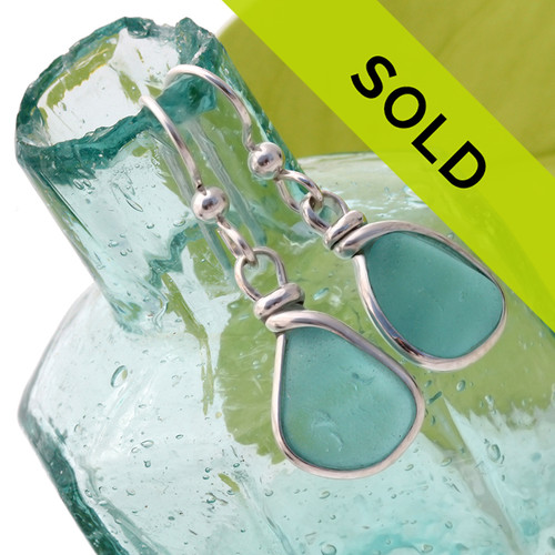 Sorry this rare pair of aqua sea glass earrings has been sold!