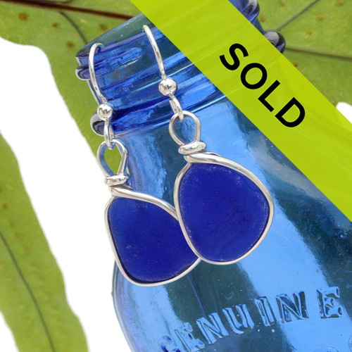 Vivid deep cobalt blue sea glass pieces set in our Original Wire Bezel© earring setting