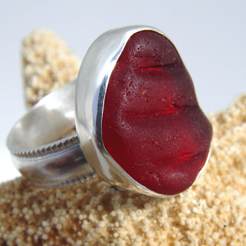 Red sea glass ring made from customer supplied sea glass.