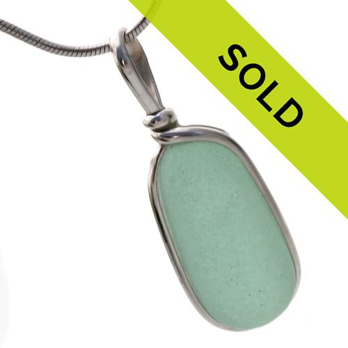 Seafoam Green Stopper Stem -  Genuine Sea Glass In Original Silver Wire Bezel© Pendant