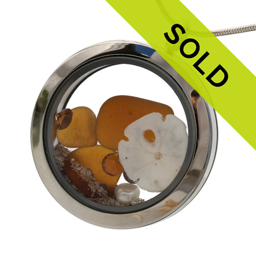 Topaz brown sea glass with sandollar and topaz color gemstones. (November Birthstones) This is the EXACT locket you will receive!