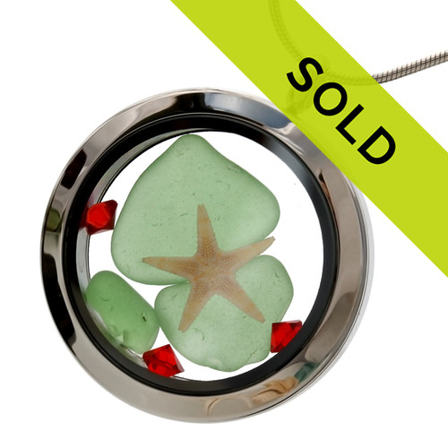 Coastal Christmas -  Green Sea Glass With Starfish, Ruby Red Gems & Real Sand Locket