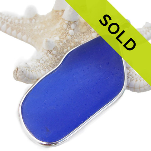 Sorry this large blue sea glass necklace pendant has been sold!
