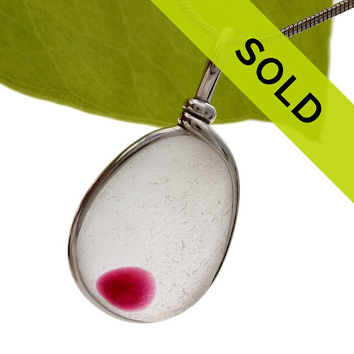 Spot Of Hot Pink English Flashed Sea Glass In S/S Original Wire Bezel© Pendant Necklace